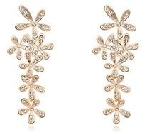 JS E002 Fashion Stud Earrings Euramerican Crystal Statement Gold Earrings AAA Bridal Wedding Earrings Elegant Jewelry