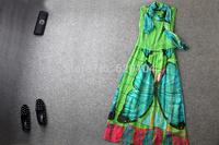 2014 brand new women's spring summer fashion wear European top brand fashion silk dress  elegance party dress with scarf T18113
