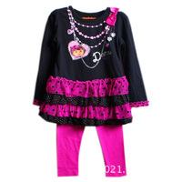 Popular Girl Dress Autumn Cute Dots Lace Long Sleeve DORA Dresses Legging Sets Print Dresses W200057