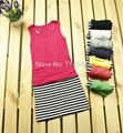 1pc/lot,free size ,2014 hot selling new fashion Cotton casual black white strip  sleeveless women summer  tank slim Dress