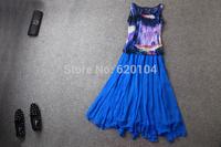 2014 brand new women's spring summer fashion wear European top brand fashion 100% silk dress elegance party dress T18114