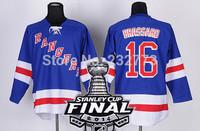 2014 Stanley Cup Finals Patch New York Rangers #16 Derick Brassard Light BLue Ice Hockey Jerseys Embroidery logos Size 48-56