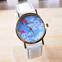 New 2014 women dress watch Plum flower Geneva watch luxury brand leather wristwatch for ladies dropping JD337