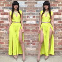 Hollow Out Sexy Women's Bodycon Dress Bright Yellow V-Neck Club Party Dresses