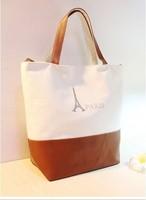 Sale Patchwork Pu Canvas Bag Women Shopping Shoulder Bags Female Classic Travel Casual  Handbags  bolsas femininas Black White
