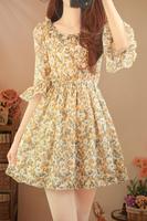 Fresh sweet little flare sleeve slim waist chiffon half sleeve one-piece dress vintage