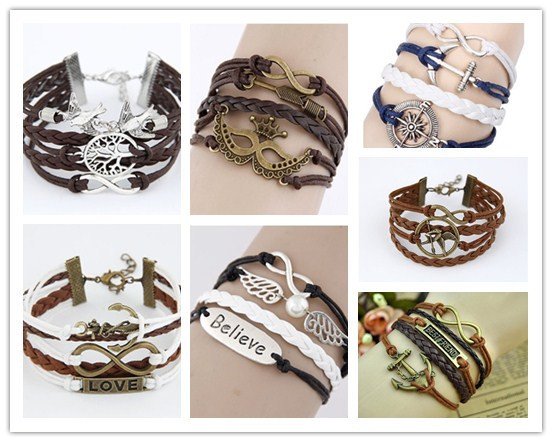 Free shipping New 2014 Retro Leather Bracelet Creative Retro Love 8 Word Cross Hand Woven Bracelets & Bangles(China (Mainland))
