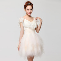 2014 rare style Brief paragraph deep V bridesmaid dress lace Collect waist thin costumes