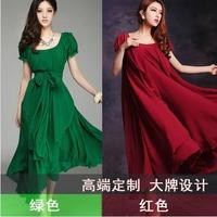 Spring 2014 plus size clothing women's medium-long irregular big chiffon full dress one-piece dress