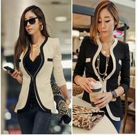 2014 new women fashion blazer black white  patchwork suit blazers