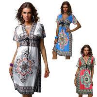 Drop Shipping New Design Fashion Women Casual Dress Short Sleeve Elegant Beach Dress For Women Loose Vintage Print Dresses