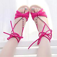 2014 bohemia banding bandage beaded open toe low-heeled sandals wedges women's shoes