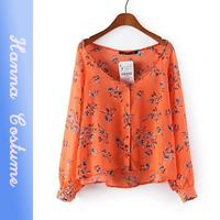 New arrival 2014 summer loose print blouse women fashion long sleeve ladies chiffon shirt for woman