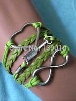 Free Shipping!6PCS/LOT!2014 New Arrival Handmade Grean Leather Rope Silver Alloy Heart Arrow Infinity Women Charm Bracelet W-525