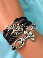 Free Shipping!6PCS/LOT!Silver Plated Ballet Dancers Infinity Tree Charm Bracelet Braided 2014 Latest Trendy Women Jewelry W-526