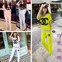 Free shipping 2014 girls clothing sets summer casual Brand set female sportswear set short-sleeve sports pants M L XL XXL