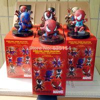 7pcs/packs Marvel Super Hero Action Figure Toys Evil Edition Spider-Man 5CM PVC Mini Cartoon Figure Model Toy Set For Children