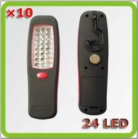 Wholesale led work lamp 24 Leds Lampara Trabajo LED led hand lamp 3*AA battery yellow red for car camp garape etc.