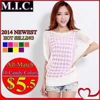 WS36 2014 new Spring summer sweet candy color women loose Crochet knitted blouse wears batwing hollow pullover sweaters top