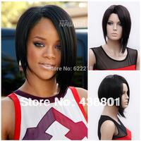 Newlook 2014 fashion short 10'' Natural black lady short wig kanekalon synthetic wigs for black women free shipping w3800
