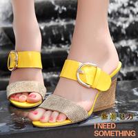 Moolecole summer rhinestone sandals tyranids fashion high-heeled slippers