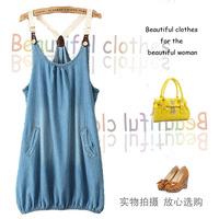 Women's novelty fashion casual jean spaghetti strap dress