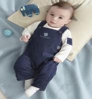 fashion  new 2014 clothing set boy striped fashion  two pcs retail long sleeve sets 100%cotton good quality