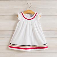 2014 New summer girls striped dress children cotton casual dress white 2-8 yrs 5 pcs/lot wholesale kids clothing 1390