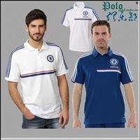 2014football soccer CheChelsea blue white short-sleeve turn-down collar polo shirt