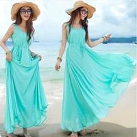 2014 Summer bohemia beach dress full dress plus size chiffon one-piece dress female