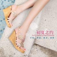 Sandals rhinestones rhinestone open toe shoe high-heeled sandals cutout women's shoes platform wedges