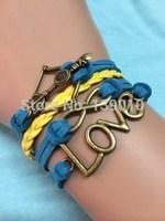 Free Shipping!6PCS/LOT!Yellow Blue Braided Leather Suede Strap Bracelet Trendy Arrow LOVE Infinity Charm Women Jewelry W-529