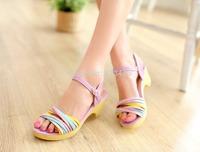 Purple/Blue/Beige Fashion Buckle Strap Women's Rainbow Strip Sandals Thick Bottom  US size 5-7.5