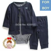 3pcs/set,Lastest 2014 Carter's Baby Boy Waffle Long-sleeve Cardigan Set Infant Jacket Clothing Suit 6-12m, In Store,yw