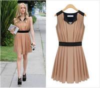 Summer Dress 2014 Women Sleeveless Spell Receives The Waist Chiffon Dress MR1-22