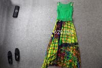 2014 Europe brand new  summer women's  top fashion dress set 100% silk elegance two-piece set T1819