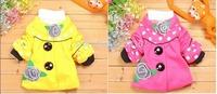 One piece retail 2014 winter  2-8T baby girls autumn winter cotton velvet warm trench,girls polka dot flower fashion outerwear