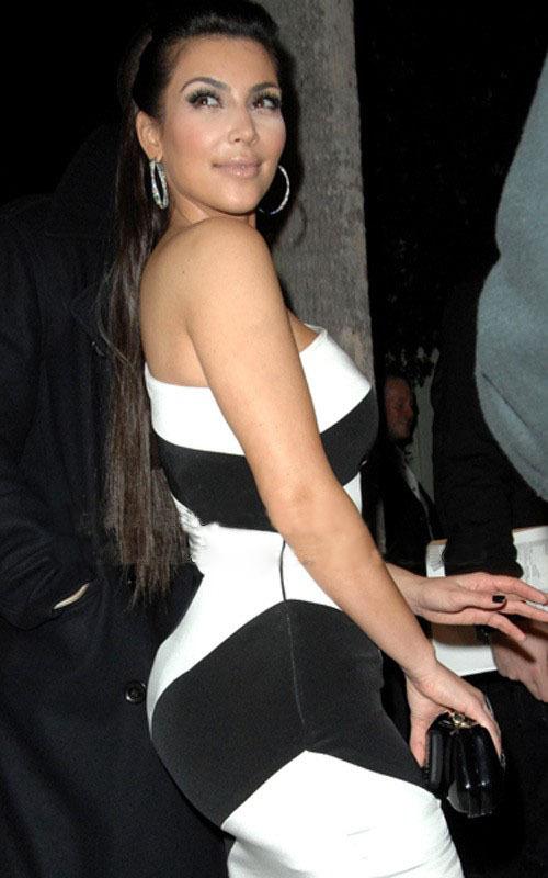 Black dress knee length - Kim Kardashian Red One Shoulder Dress Images