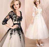 Sexy Long Sleeve Vintage Lace Evening Dress