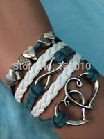 Free Shipping!6PCS/LOT!Braided Leather Suede Double Heart Infinity Charm Bracelet 2014 New Fashion Women Trendy Jewelry W-533