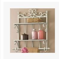 Wrought iron bathroom rack, towel rack hanging bathroom toilet soap frame cosmetics aircraft shelf is received