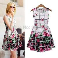 2014 New  Women Sleeveless Dress Rose Flowers Plaid Printing Elegant Chiffon Dress Casual Summer Dresses  For women Ladies