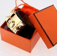 Free epacket shipping HOT punk leather gold buckle Bracelet &Bangle High quality with box and Dust bag Birthday Gift