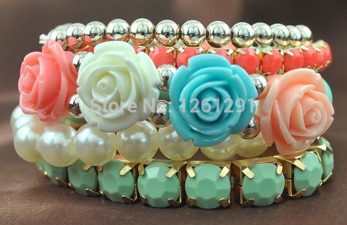 Europe and the United States trendy multi-level rose imitation pearl bangles(China (Mainland))
