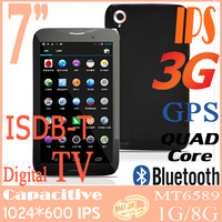 Newest suporte 3G dtv portatil tablettle - 7 inch IPS android 4.2 MT6589 Gps phone call quad core gsm HDMI tv digital tablet pc