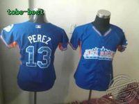 Baseball 2013 All Star Women's Kansas City Royals #13 Salvador Perez Blue Jersey Stitched On-Field Baseball Jersey High Quality