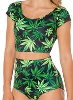 Sexy Maple leaf Marijuana Print triangl Bikini Suit Galaxy Wear Swimwear High Waist Bikinis Set Bathing Suits Swimsuit Beachwear