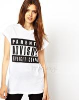 2014 women t-shirt  Parental Advisory classic letters printed round neck short sleeve T-Shirt