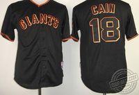 San Francisco Giants #18 Cain Black Baseball Jerseys Cool base Jersey All Letters & Stitching Sewn On!  Cheap Baseball Jerseys W