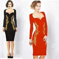 Women Clothes Summer Dress 2014 Cotton Sheath Dress Knee-Length Full Sleeve-Length Square Collar Women Dress N02
